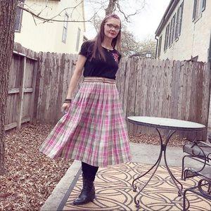Vintage Pendleton Pink Plaid Pleated Midi Skirt
